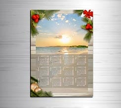 Calendario magnetico A3 Christmas wood
