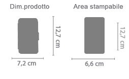 Flip Cover Laterale iPhone 5 e 5S area di stampa da personalizzare del prodotto