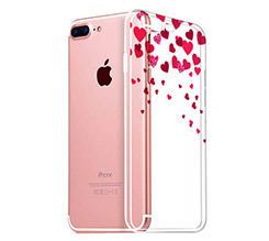 Cover Trasparente iPhone 8 Plus Glitter hearts