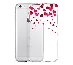 Cover Trasparente iPhone 6 Glitter Hearts