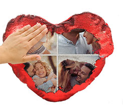Cuscino cuore con paillettes Collage