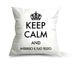 Keep Calm Bianco su Cuscino in Pile