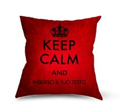 Keep Calm Rosso su Cuscino in Pile