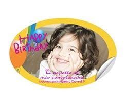 Sticker personalizzato ovale Happy birthday