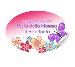 Stampa su adesivo ovale Flowers and butterfly