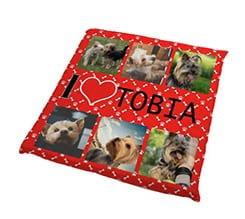 Cuscino per cani I love collage