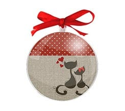 Palla di Natale tonda Cats in love