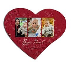 Puzzle cuore in masonite A3 Red Christmas