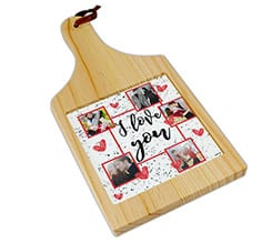 Tagliere in legno I love you collage