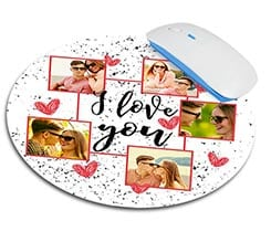 Tappetino mouse tondo I love you collage