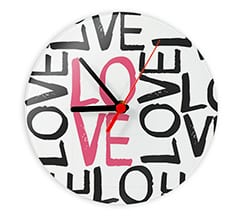 Orologio tondo in vetro Love words