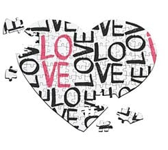 Puzzle cuore A4 Love words