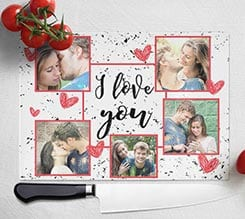 Tagliere in vetro I love you collage