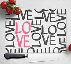 Tagliere in vetro Love words