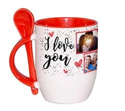 Tazza con Cucchiaino I love you collage