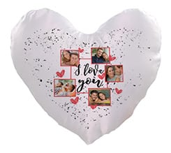 Cuscino cuore I love you collage