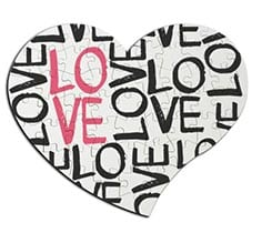 Puzzle cuore masonite A4 Love words