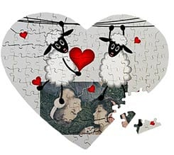 Puzzle cuore masonite A3 Sweet sheeps