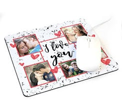 Tappetino mouse rettangolare I Love you collage