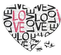 Puzzle cuore A3 Love words
