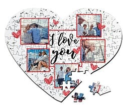 Puzzle cuore A3 I love you collage