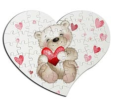 Puzzle cuore masonite A4 Teddy bear