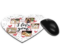 Tappetino mouse cuore I love you collage