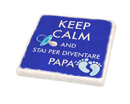 Mattonella in marmo con grafica Keep Calm