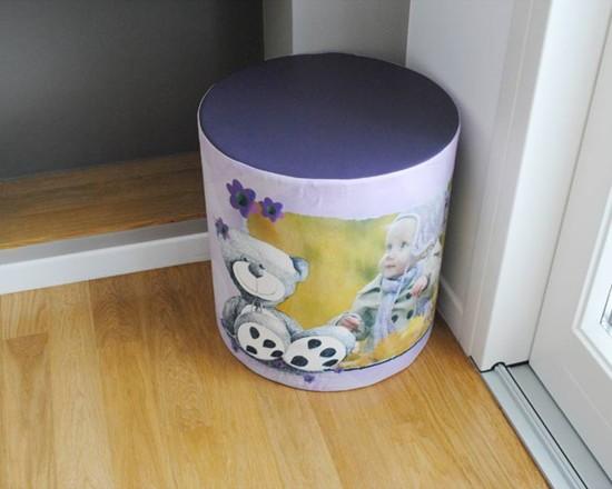 Pouf cilindrico con foto e grafiche