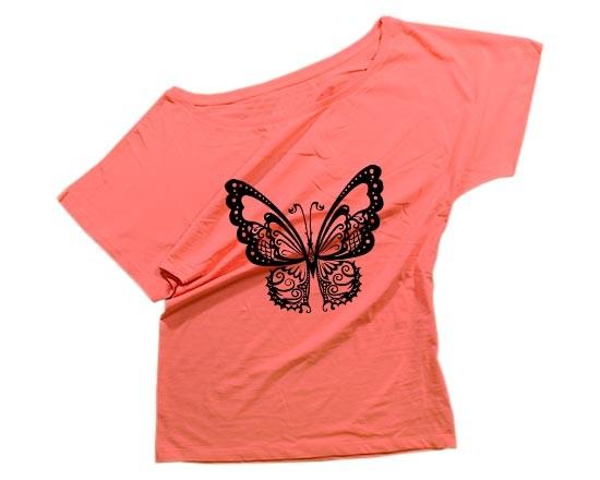 tshirt donna scollo largo farfalla fotoregalicom