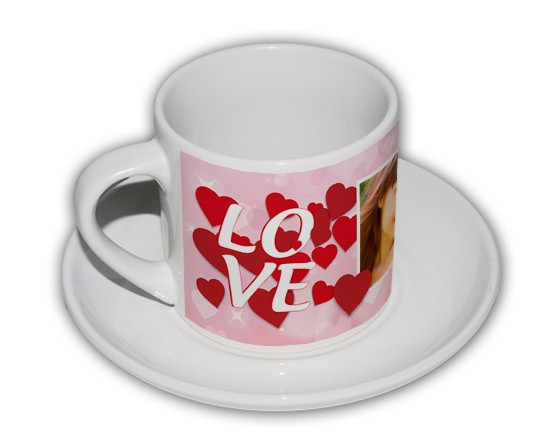 Tazza Coffee Panoramica con cuori rossi