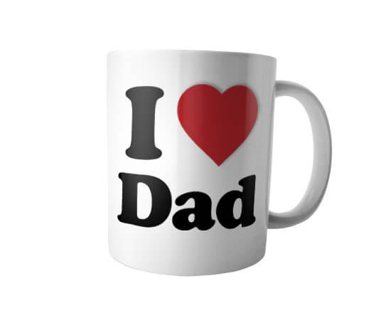 Tazza panoramica con grafica I Love dad