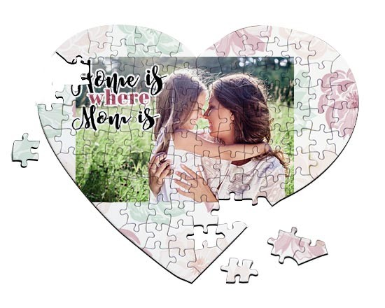Puzzle cuore A4 Home is mom