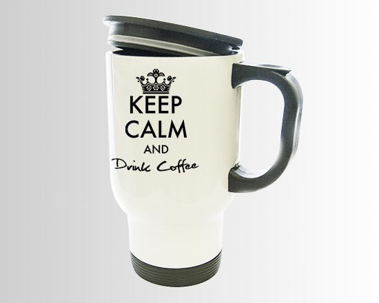 La tazza termica con la grafica keep calm nera