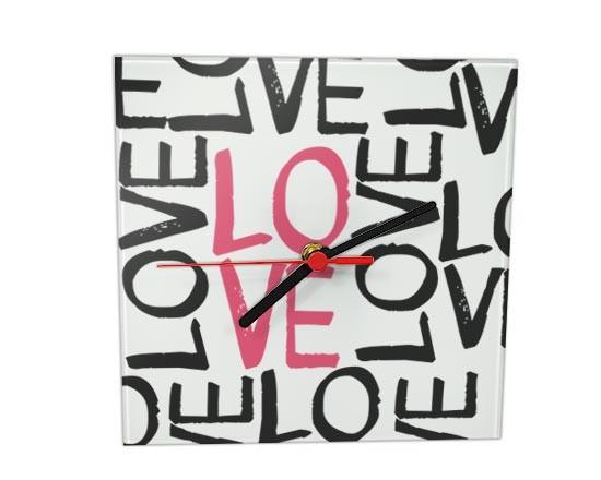 583e446f78 Orologio Quadrato in Vetro Love words - Fotoregali.com