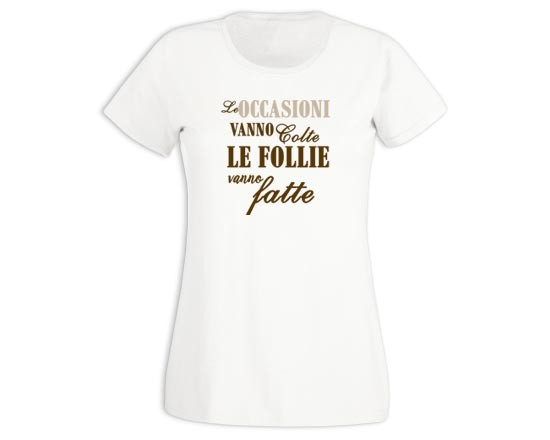 T-shirt donna in cotone Occasioni e follie