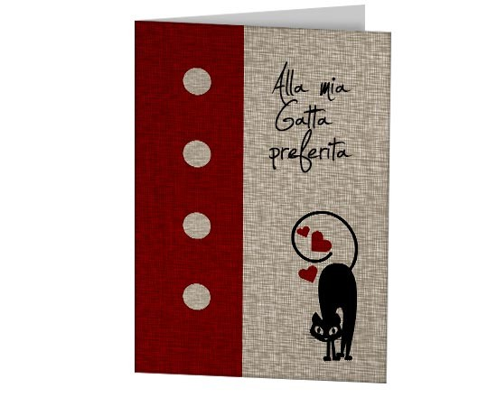 Cards augurale con grafica di gatto in love