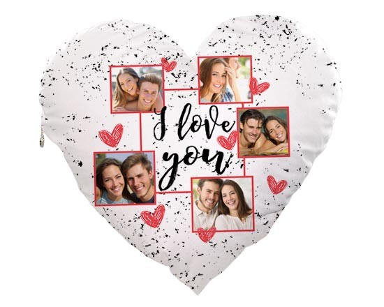 Cuscino Cuore Elite I love you collage