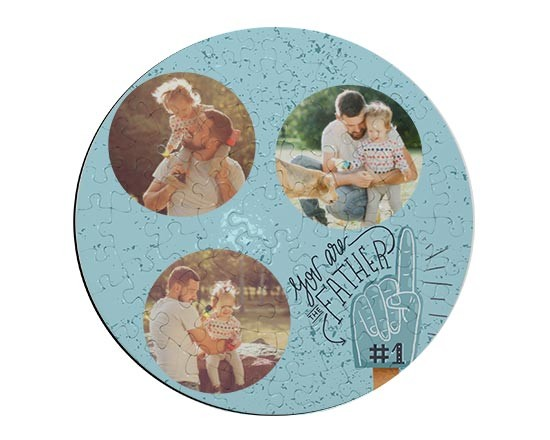Puzzle rotondo in cartoncino con grafica collage