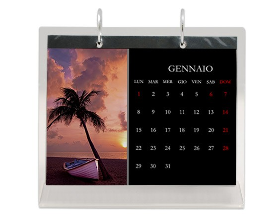 calendario in plexiglass con grafica nera