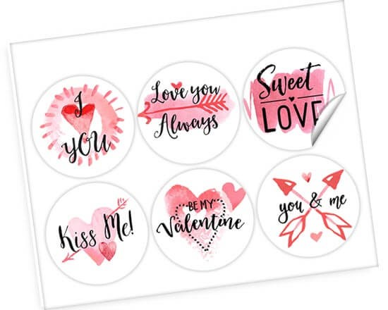 Stickers con frasi d'amore