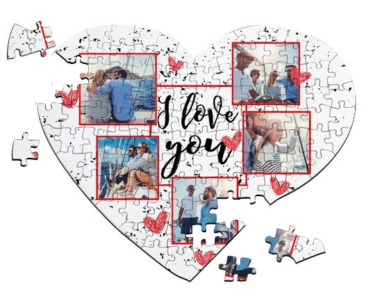 Puzzle a cuore A4 con grafica collage